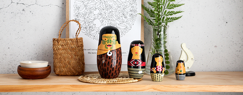 Māori Nesting Dolls on shelf